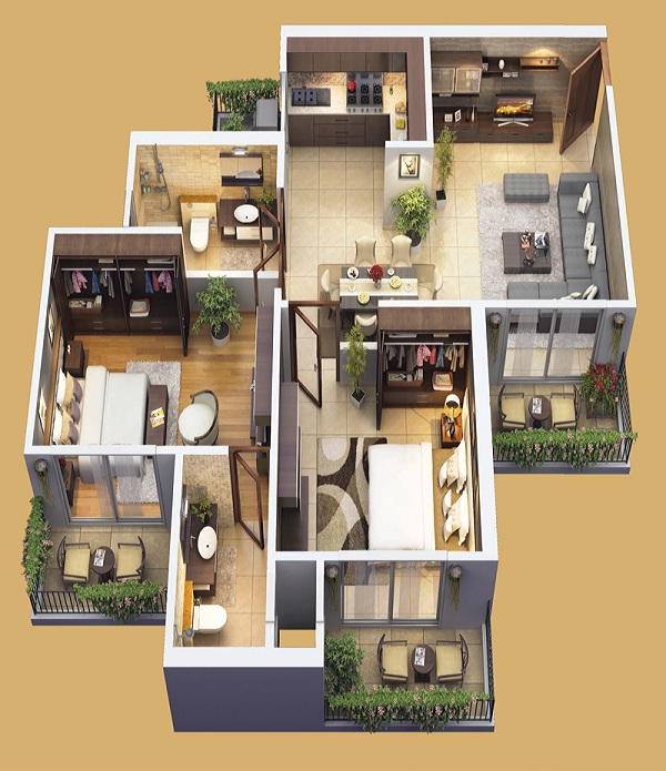 mahagun mantra 1 floor plan 2bhk 2toilet 1225 sq.ft