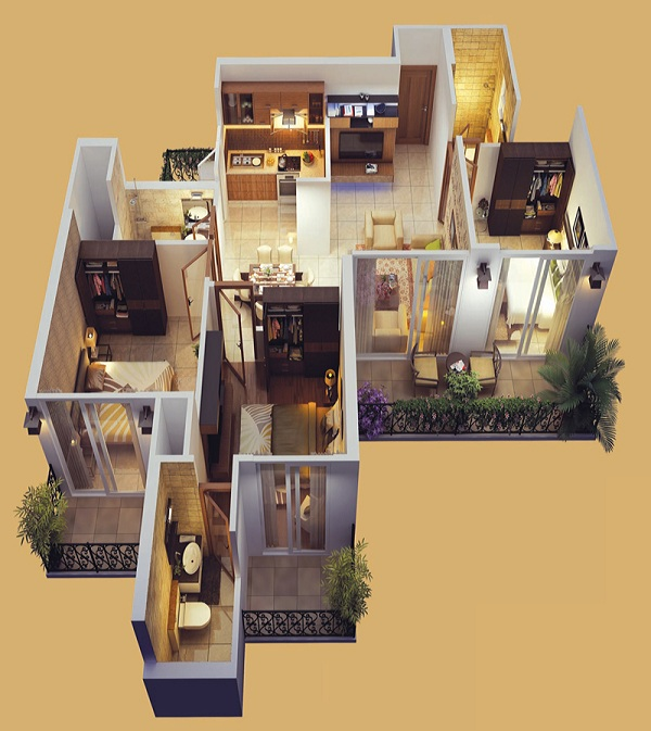 mahagun mantra 1 floor plan 3bhk 3toilet 1197 sq.ft