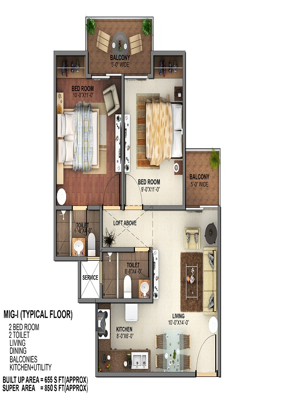 mahagun mantra 2 floor plan 2bhk 2toilet 850 sq.ft