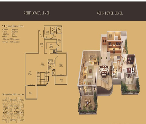 mahagun mantra 2 floor plan 4bhk 5toilet 2950 sq.ft