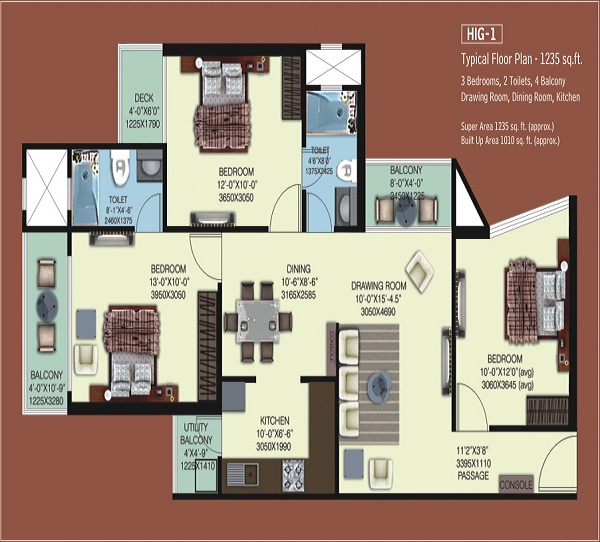 mahagun mywoods phase1 floor plan 3bhk 2toilet 1010 sq.ft