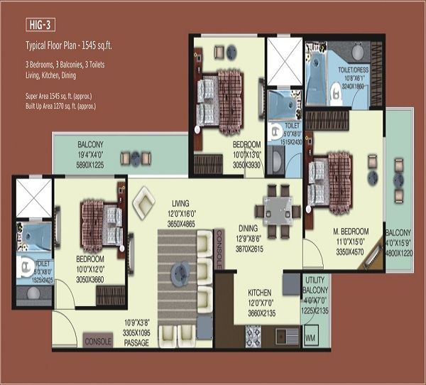 mahagun mywoods phase1 floor plan 3bhk 3toilet 1270 sq.ft