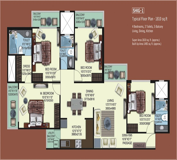 mahagun mywoods phase1 floor plan 4bhk 3toilet 1485 sq.ft