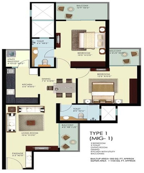 mahagun mywoods phase2 floor plan 2bhk 2toilet 1290 sq.ft