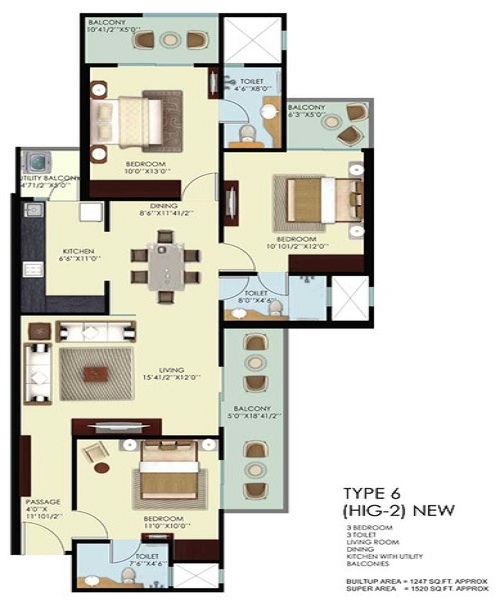 mahagun mywoods phase2 floor plan 3bhk 3toilet 1810 sq.ft