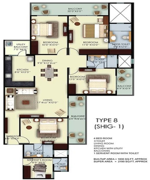 mahagun mywoods phase2 floor plan 4bhk 3toilet 2190 sq.ft