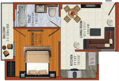 omson nature valley floor plan 1bhk 1toilet 650 sq.ft