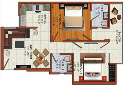 omson nature valley floor plan 2bhk 2toilet 960 sq.ft