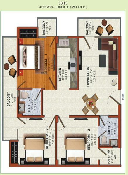 omson nature valley floor plan 3bhk 2toilet 1365 sq.ft