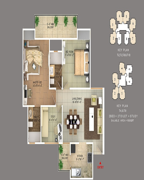 rudra skytracks floor plan 2bhk 2toilet 1155 sq.ft
