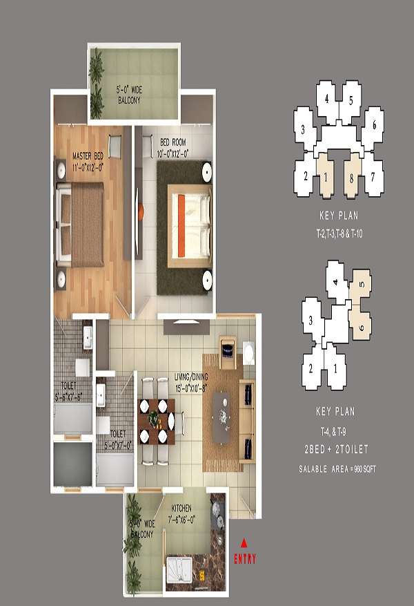 rudra skytracks floor plan 2bhk 2toilet 960 sq.ft