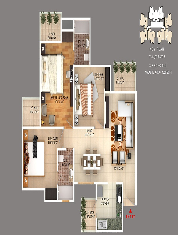 rudra skytracks floor plan 3bhk 2toilet 1350 sq.ft