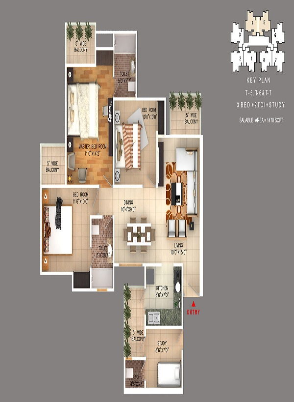rudra skytracks floor plan 3bhk 2toilet 1470 sq.ft