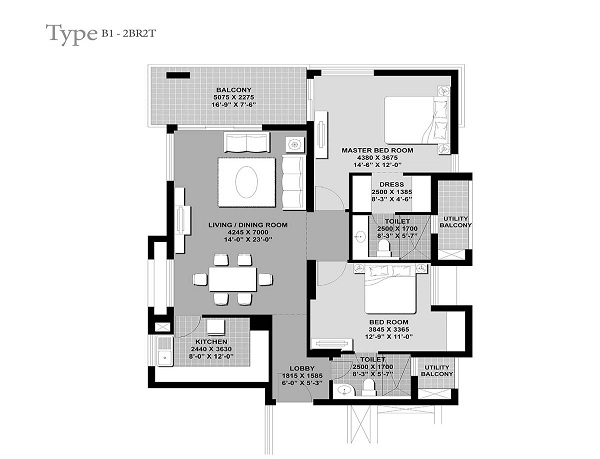 unitech verve floor plan 2bhk 2toilet 1619 sq.ft