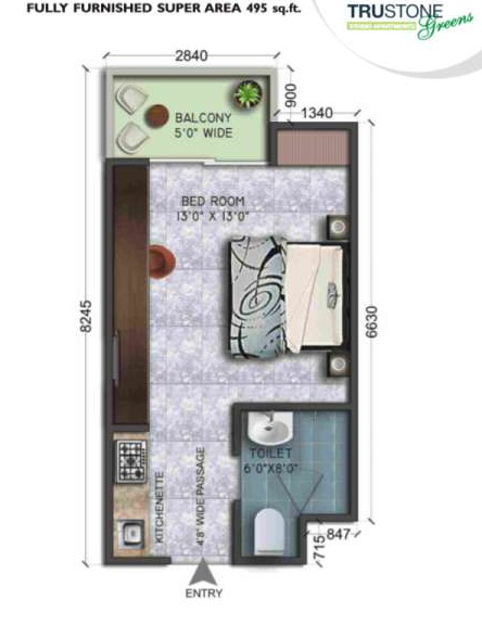 wegmans trustone greens floor plan 1bhk 1toilet 495 sq.ft