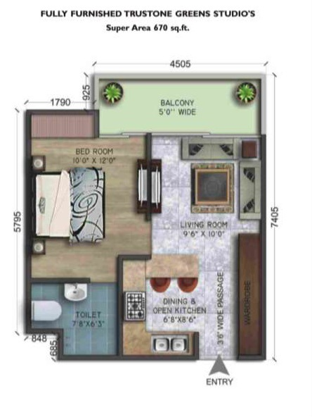 wegmans trustone greens floor plan 1bhk 1toilet 670 sq.ft