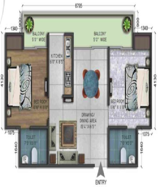 wegmans trustone greens floor plan 2bhk 2toilet 995 sq.ft