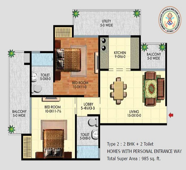 afowo raksha towers floor plan 2bhk 2toilet 985 sq.ft