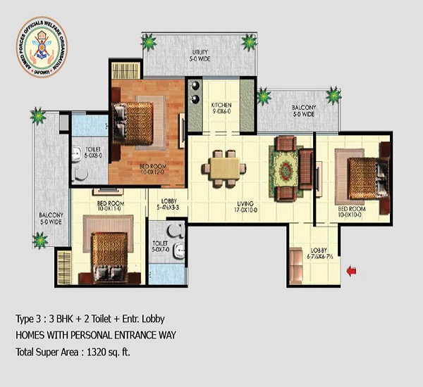 afowo raksha towers floor plan 3bhk 2toilet 1320 sq.ft