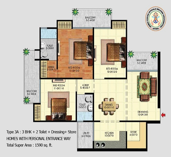 afowo raksha towers floor plan 3bhk 2toilet 1590 sq.ft