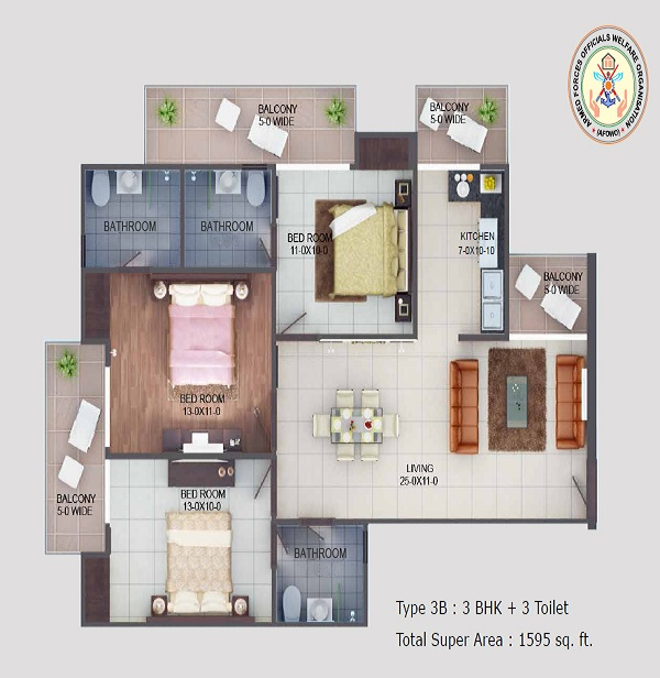 afowo raksha towers floor plan 3bhk 3toilet 1595 sq.ft