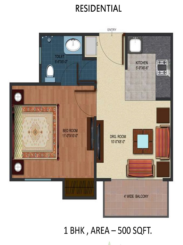 airwil organic smart city floor plan 1bhk 1toilet 500 sq.ft