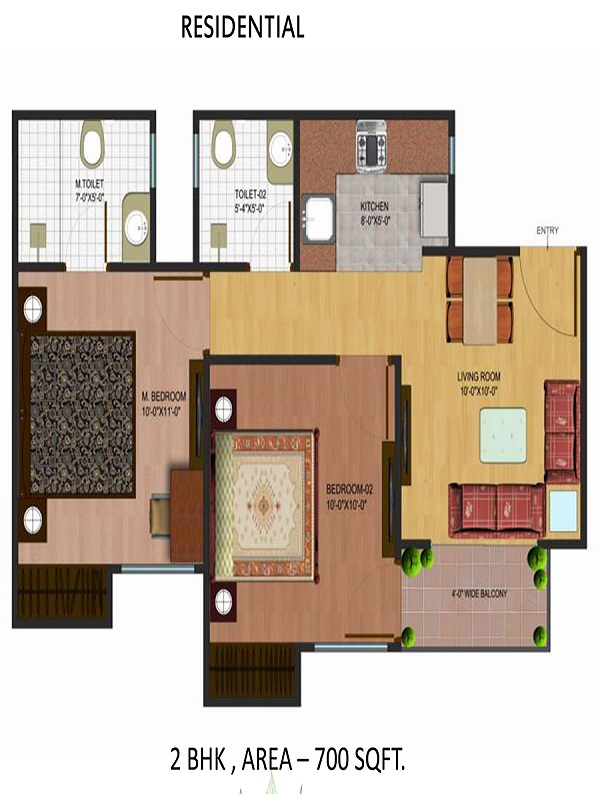 airwil organic smart city floor plan 2bhk 2toilet 700 sq.ft