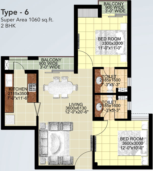 ansal api paradise crystal floor plan 2bhk 2toilet 1060 sq.ft