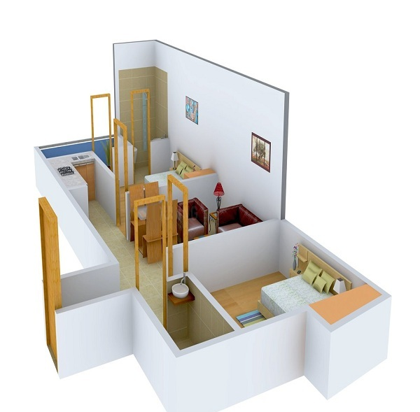 arsh green heights floor plan 2bhk 1toilet 950 sq.ft
