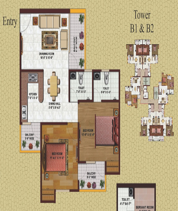 earthcon casa grande floor plan 2bhk 2toilet 1060 sq.ft