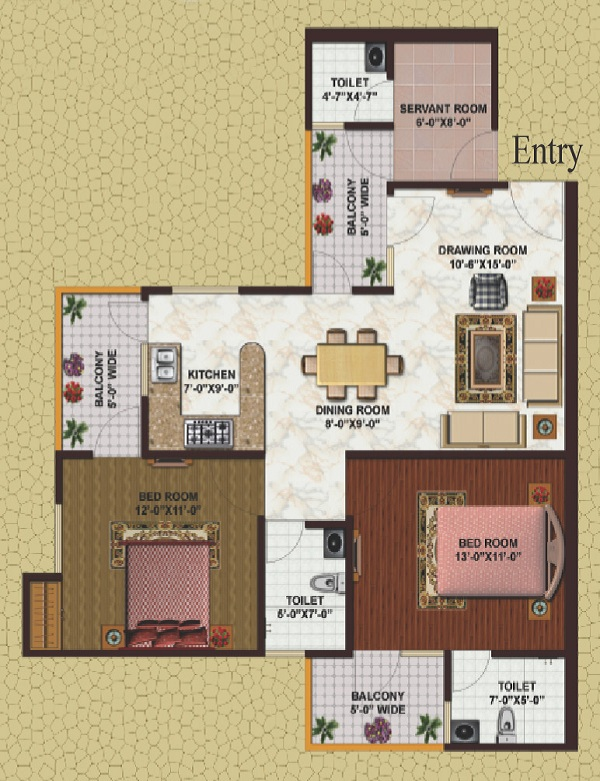 earthcon casa grande floor plan 2bhk 3toilet 1205 sq.ft