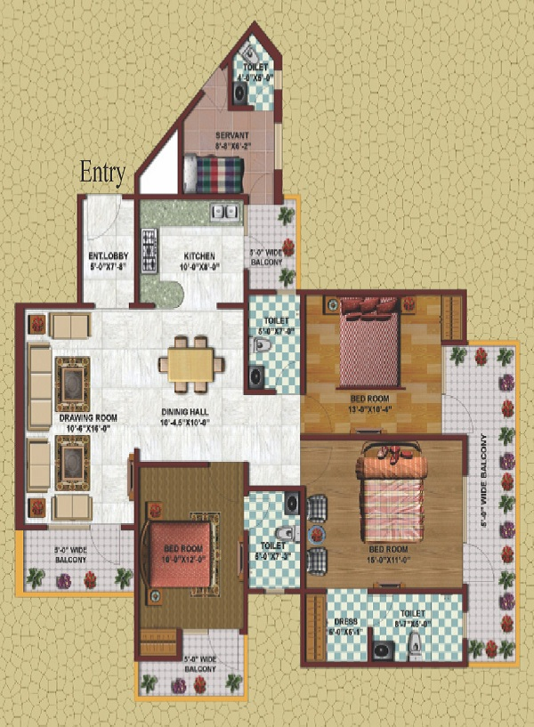 earthcon casa grande floor plan 3bhk 3toilet 1880 sq.ft