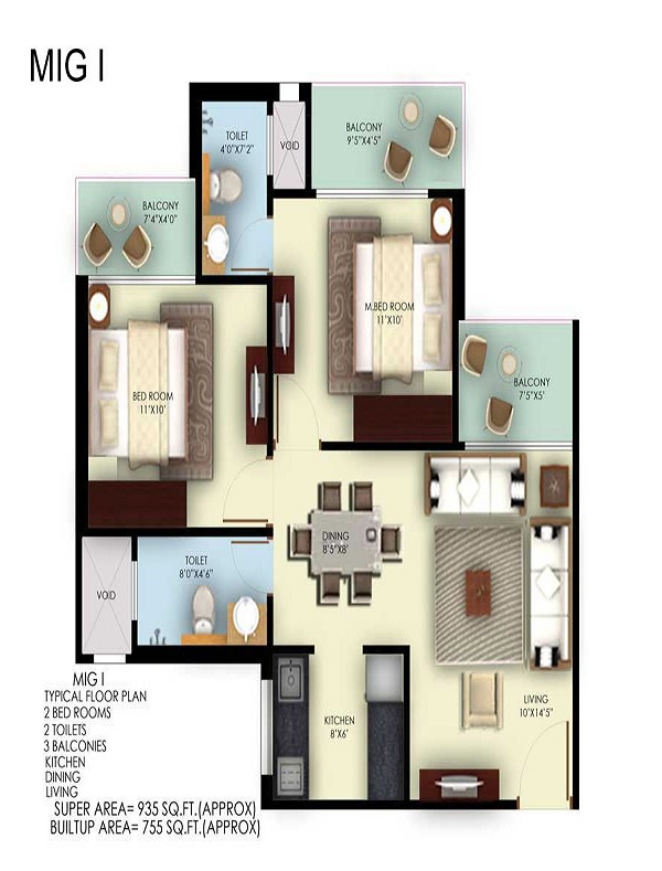 mahagun mywoods phase lll floor plan 2bhk 2toilet 935 sq.ft