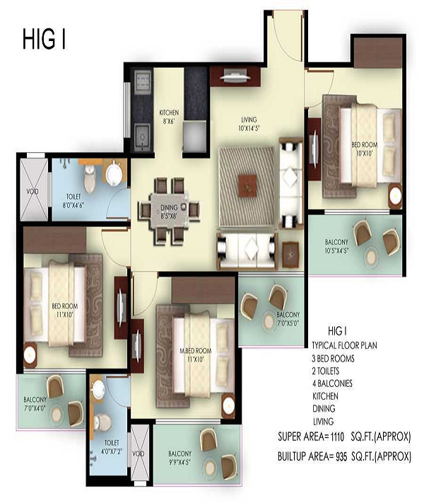 mahagun mywoods phase lll floor plan 3bhk 2toilet 1110 sq.ft