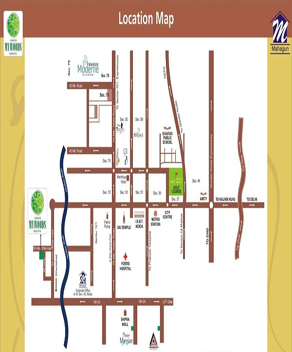 mahagun mywoods phase lll location map