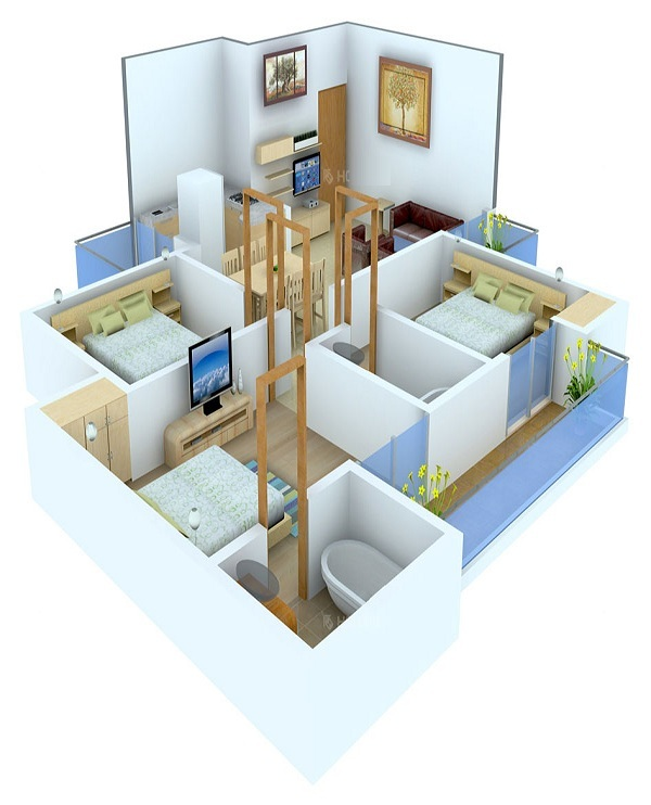 miglani bally hai floor plan 3bhk 2toilet 1283 sq.ft