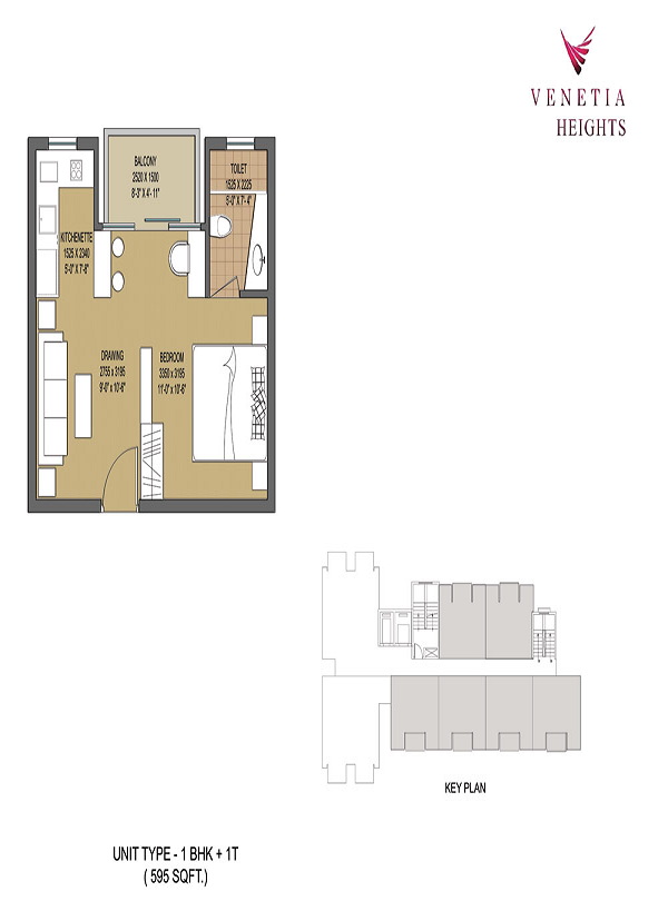 oasis venetia heights floor plan 1bhk 1toilet 595 sq.ft