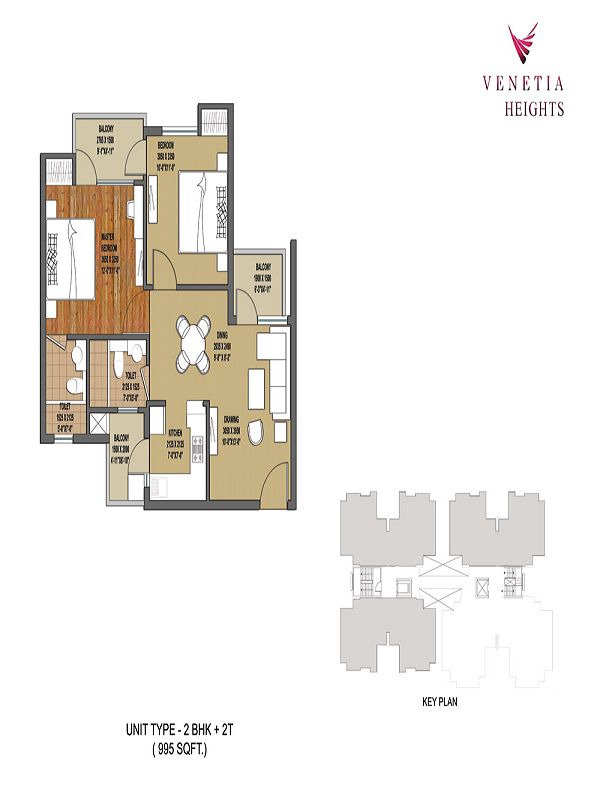 oasis venetia heights floor plan 2bhk 2toilet 995 sq.ft
