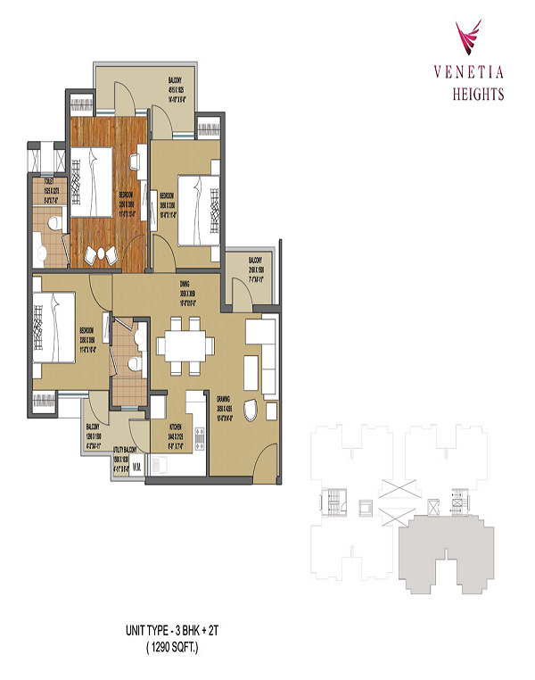 oasis venetia heights floor plan 3bhk 2toilet 1290 sq.ft