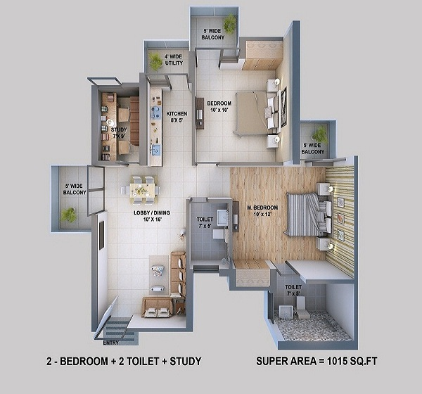 resizone elina floor plan 2bhk 2toilet 1015 sq.ft