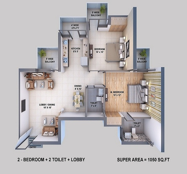 resizone elina floor plan 2bhk 2toilet 1050 sq.ft