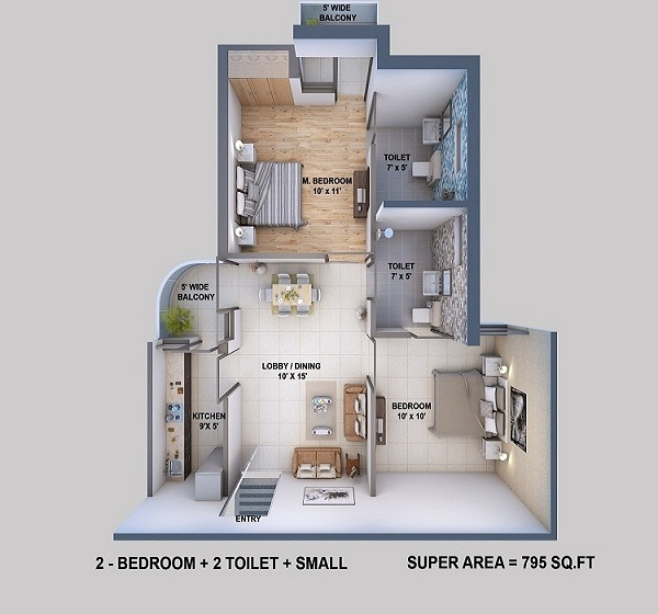 resizone elina floor plan 2bhk 2toilet 795 sq.ft