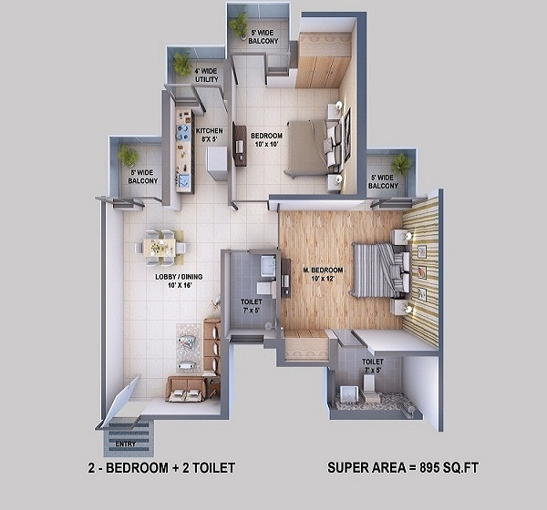 resizone elina floor plan 2bhk 2toilet 895 sq.ft