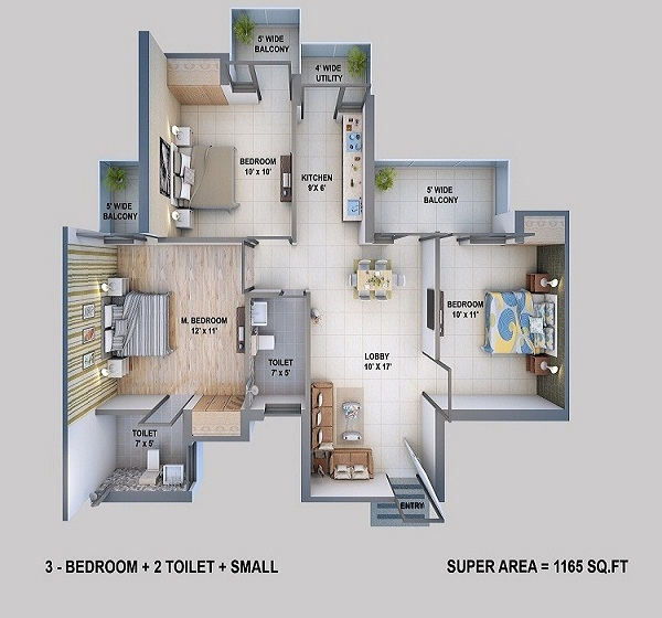 resizone elina floor plan 3bhk 2toilet 1165 sq.ft