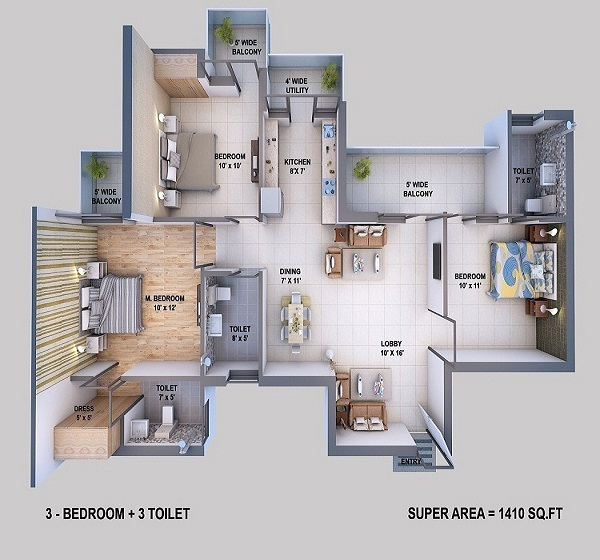 resizone elina floor plan 3bhk 3toilet 795 sq.ft