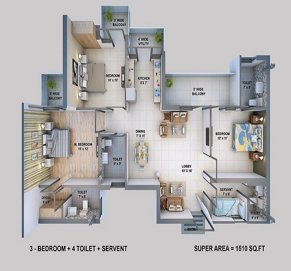 resizone elina floor plan 3bhk 4toilet 1510 sq.ft