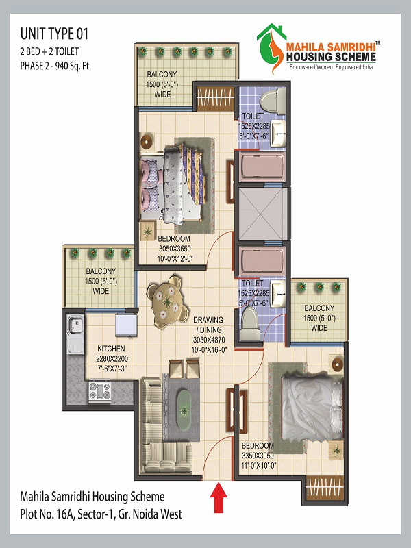 Mahila Samridhi Housing Floor Plan 2bhk 2toilet 940 sq.ft