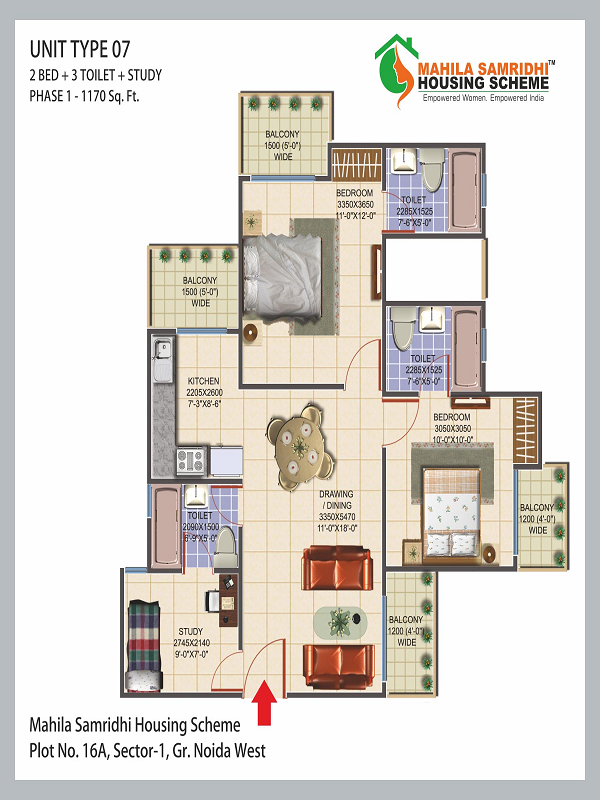 Mahila Samridhi Housing Floor Plan 2bhk 3toilet 1170 sq.ft