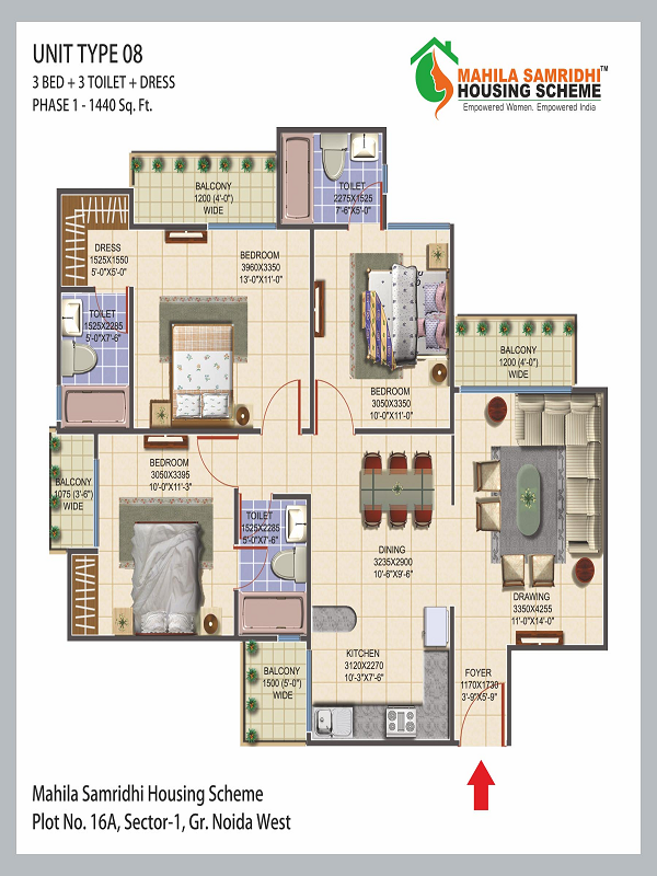 Mahila Samridhi Housing Floor Plan 3bhk 3toilet 1440 sq.ft