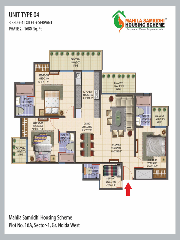 Mahila Samridhi Housing Floor Plan 3bhk 4toilet 1680 sq.ft
